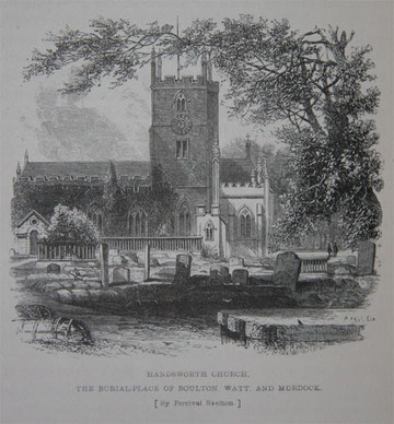 Handsworth Church before the 1876 restoration - Image from Samuel Smiles 1865 Lives of the Engineers Boulton & Watt - See Grace's Guide - http://www.gracesguide.co.uk.