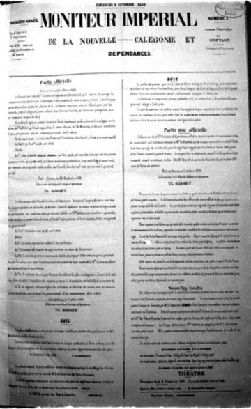 - MONITEUR IMPERIAL DE LA NOUVELLE-CALEDONIE ET DEPENDANCES - (N°1 : 2 Octobre 1859)