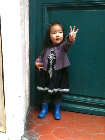 パリ、子供、ファッション、スナプ