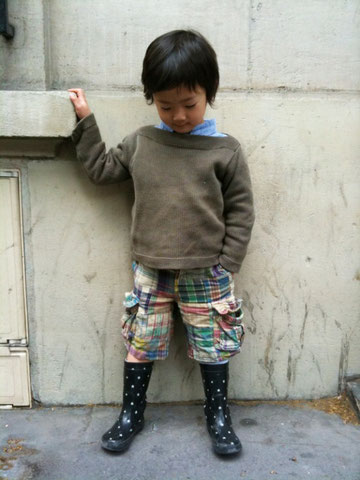 パリ、子供、スナップ、ファッション
