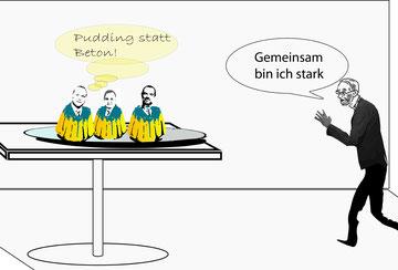 """Kommentar von Peter Steiner (ÖLI) """"Pudding statt Beton! So gelb ist die FCG!""""  Bild:spagra"""