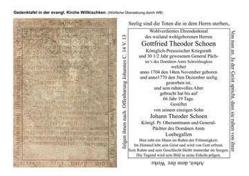 Gedenkstein Gottfried Theodor Schoen - Förderer des Kirchspiels Willkischken