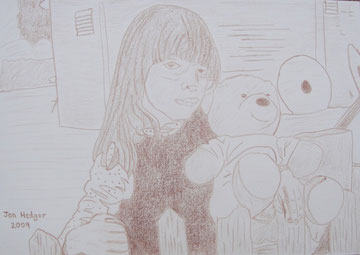 Emily At The Mill by Jon Hedger - pencil drawing in brown ................... (c) copyright 2009