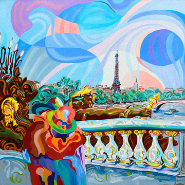 PUENTE DE ALEJANDRO III (PARIS). Huile sur toile. 80 x 80 x 3,5 cm.