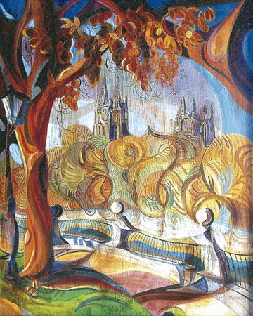 RIBERA DEL ARLANZON (BURGOS). Huile sur toile. 100 x 81 x 3,5 cm.