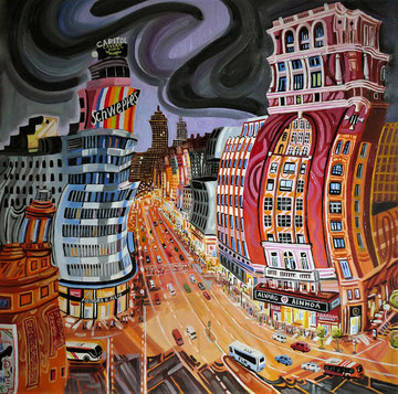 EDIFICIO CARRION (MADRID). Oleo sobre lienzo. 80 x 80 x 3,5 cm.