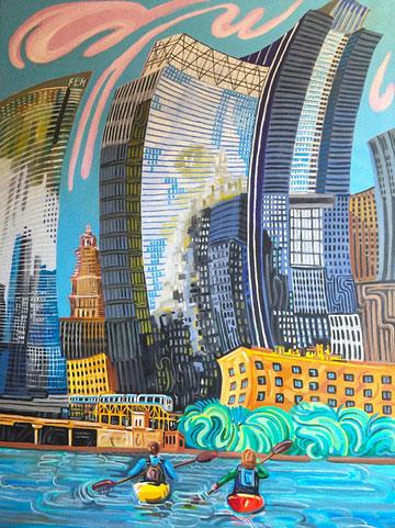NAVEGANDO POR CHICAGO (CHICAGO). Huile sur toile. 130 x 97 x 3,5 cm.