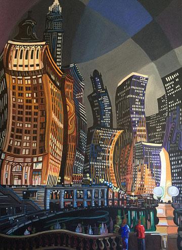 CHICAGO DE NOCHE (CHICAGO). Huile sur toile. 146 x 97 x 3,5 cm.