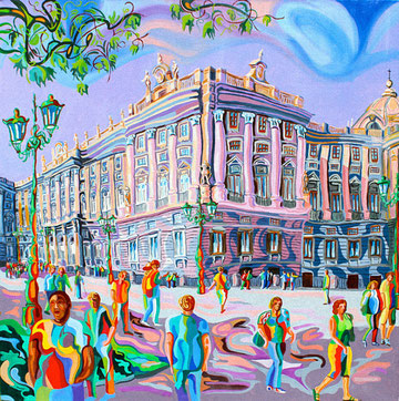 PALACIO REAL (MADRID). Huile sur toile. 80 x 80 x 3,5 cm.