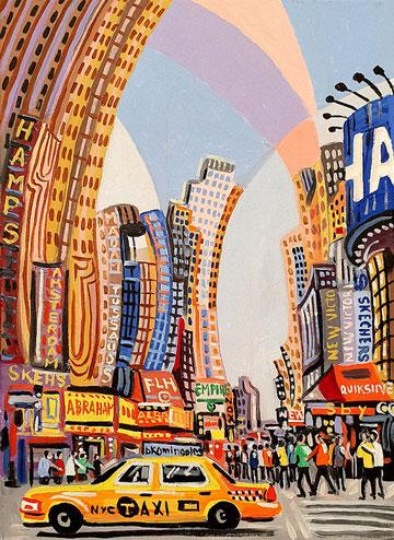 QUINTA AVENIDA (NUEVA YORK). Oleo sobre lienzo. 33,5 x 24,5 x 3,5 cm.