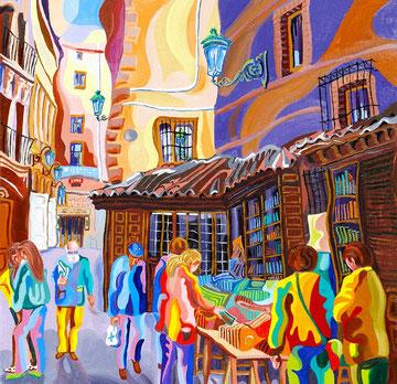 CALLEJON DE SAN GINES (MADRID). Huile sur toile. 60 x 60 x 3,5 cm.