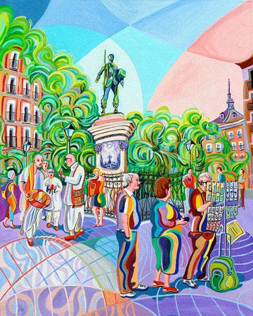 PLAZA DE CASCORRO (MADRID). Huile sur toile. 92 x 73 x 3,5 cm.