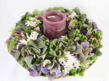 紫陽花のキャンドルリース