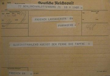 Abb.5: Zur Geburt von Achim (Nov. 1940) erreicht Luise ein rührendes Telegramm.