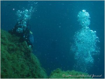 illusion d'optique, bulles, plongee sous marine,