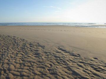 Strand in Nordfrankreich mit Fußspuren im Sand, das Meer weit im Hintergrund