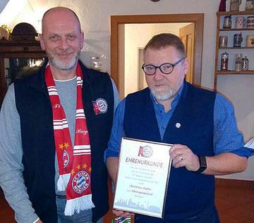 Ernennung von Christian Huber zum Ehrenpräsident