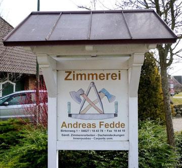 Eingang zur Zimmerei Andreas Fedde, Börm