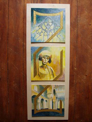 Acrylbild, Kunst, Art, vergoldung, gemalt, Mittelalter, Tryptichon, Sabine Wunderli, www.kunst-und-art.com