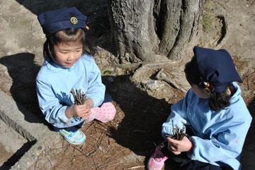 枝を集める女の子達