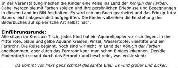 """Ausschnitt aus Konzept zu Jutta Bauers """"Die Königin der Farben"""""""