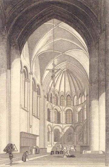 L'abbatiale de Cerisy gravée par John Sell Cotman, début du 19è siècle. Ici, l'on voit les réfections entreprises  au XVè siècle (piles de la croisée du transept, arcs gothiques sans châpiteau).
