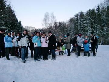 Die Wanderer an den Wanzek-Teichen