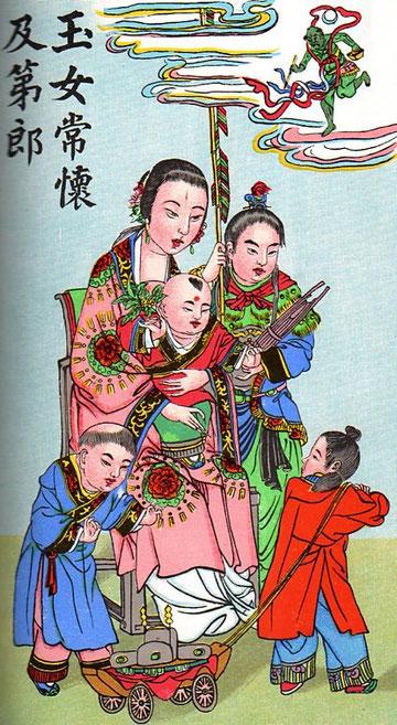 Koei sing du haut des cieux protège le nouveau-né. Sur un char on voit le bonnet des académiciens.