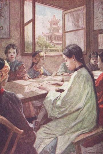 Jeunes chinoises à un cours de chant.