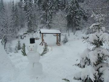 Schneemann, von unseren Kindern Weihnachten 2009 gebaut, mit Armen aus Fichtenzweigen und schneebehangenen Fichten in der Umgebung