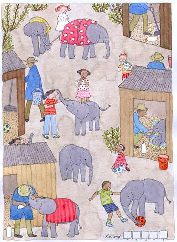 Lola Renn, Illustration, Elefanten, Tierschutz, Rettet die Elefanten Afrikas