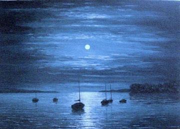 Mondnacht bei Mammern (2), Öl auf Leinwand, 60 x 85 cm