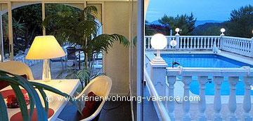 Ferienwohnung Valencia, Blick vom Wintergarten auf den Pool