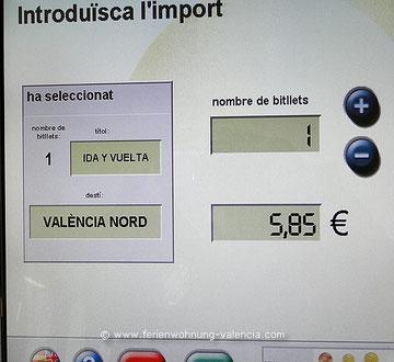 Fahrkarten-Automat Bahnhof Xeraco, Valencia, Spanien