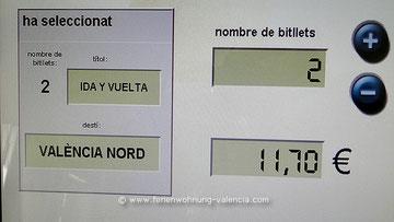 Fahrkarten-Automat, Bahnhof Xeraco, Valencia Spanien