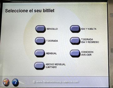 Fahrkarten-Automat, Bahnhof Xeraco, Valencia, Spanien