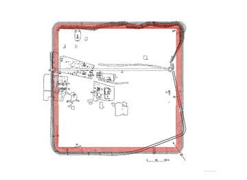 Abb. 6a: Ideallager auf dem Grabungsplan des grossen Lagers auf dem Hunerberg.