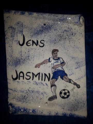originelles Türschild, Namensschild für einen Fussballer