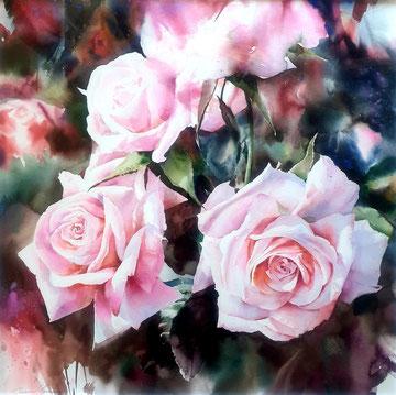 Tamara Gross Aquarell Rosen gemaltes Bild Rosenbild