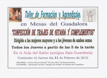 Cartel del Taller de Confección de Trajes de Gitana