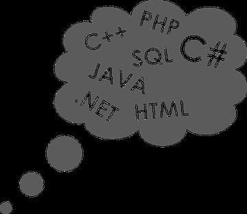 Programmiersprache SQL HTML .NET JAVA C++ PHP C# Denkblase