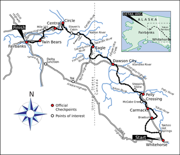 a map of the yukon quest trail from qhitehorse to fairbanks alaska to canada