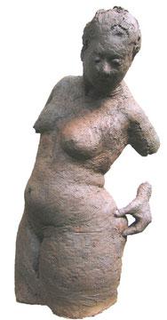 Figur mit Hand (Terrakotta [für Bronze], H: lebensgroß)