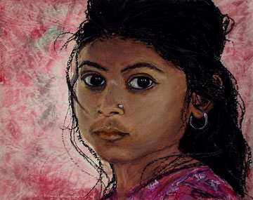 Indian girl 1, Acryl auf Leinwand
