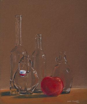 Flasche mit Apfel, 35x30cm
