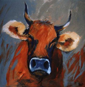 Kuh in Rot, 50 x 50 cm