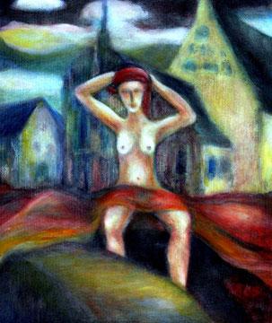 Nackte Wahrheit vor dem Dom (2005), Oel