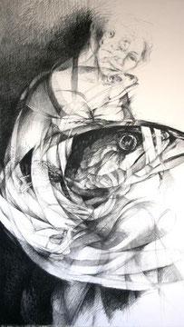 Wickelfisch (Schwarzmine auf Papier, 150 x 90 cm)