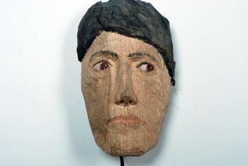 Hin und Her, Maske mit sich bewegenden Augen  I  Lindenholz bemalt, Motor