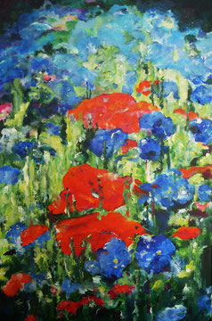 Palette in rot und blau - 60 x 40 cm - Acryl auf Leinwand